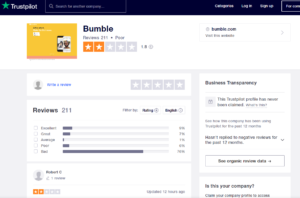 bumble app rating by trustpilot