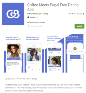 CoffeeMeetsBagel app rating by google play