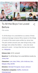 To All the Boys I've Loved Before movie overview by google