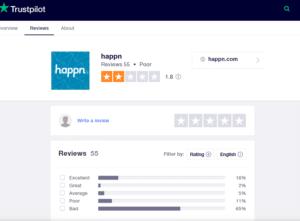 happn app rating by trustpilot