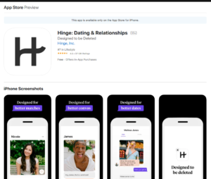 hinge app rating by app store