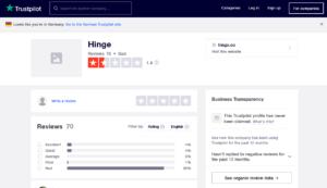 hinge app rating by trustpilot