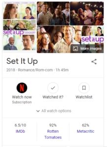 set it up movie rating by google