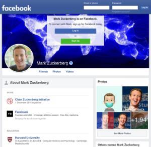Facebook.com main page